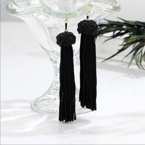 Long Black tassel trendy boho earring Nwt